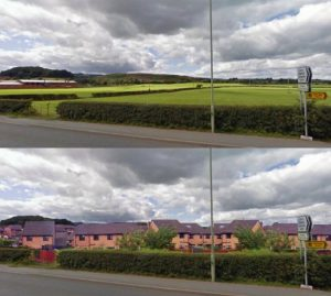 A photo montage of the planned housing development below Old Oswestry Hill Fort [Image Courtesy of HOOOH]