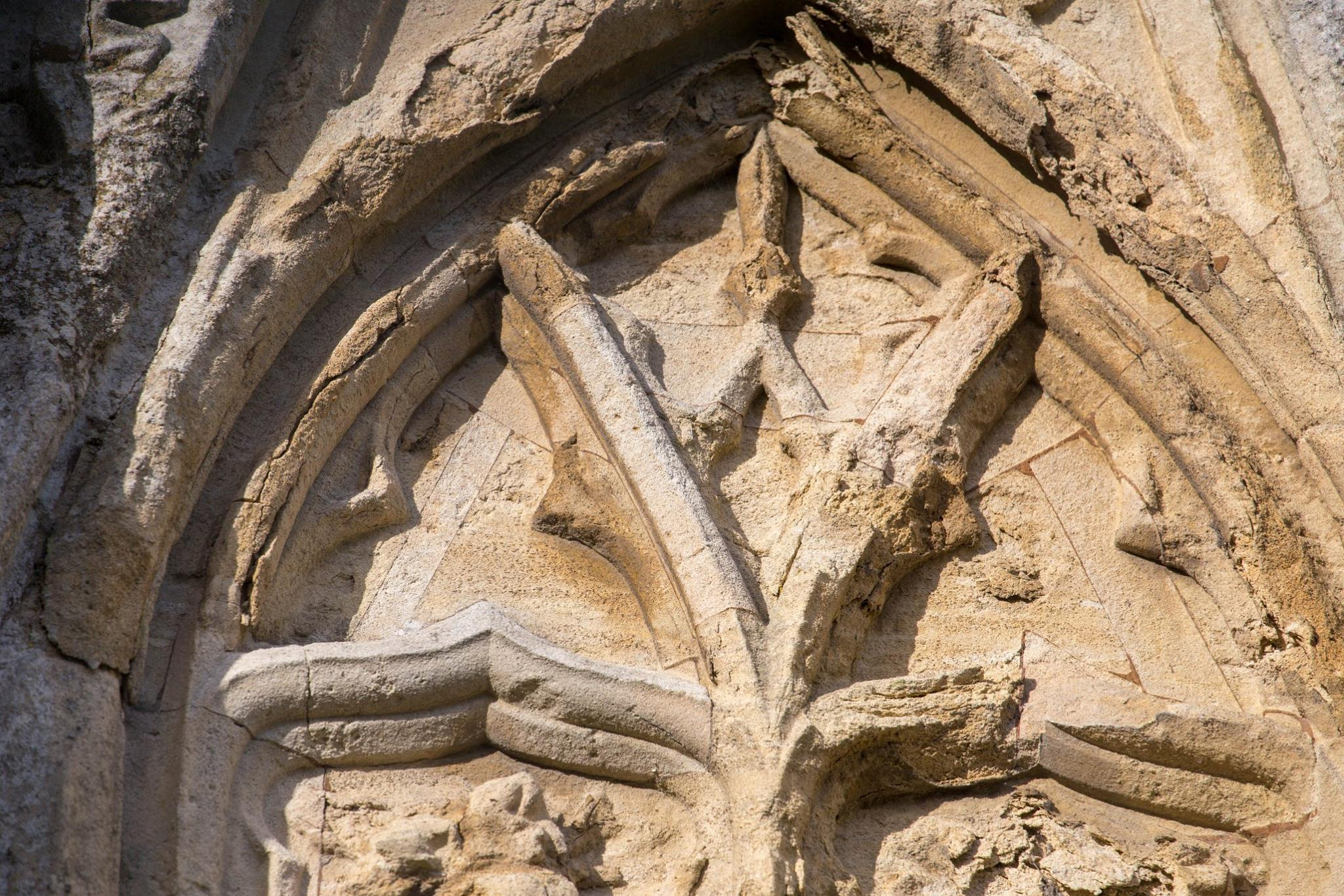 Cracking and flaking on the tracery of the Eleanor Cross copyright Mathew Lewis