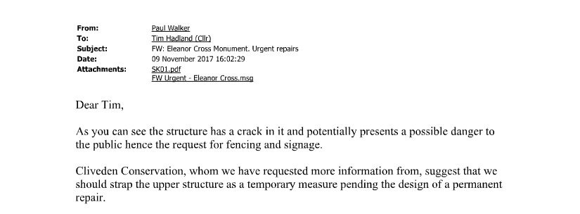 Eleanor Cross Comms Walker Hadland email FOI April 2018 Crop