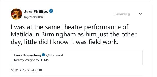 Jess Phillips on Twitter_ _I was at the same theatre performance of Matilda in Birmingham as him just the other day, little did I know it was field work.… https___t.co_I2fBWLjPts_