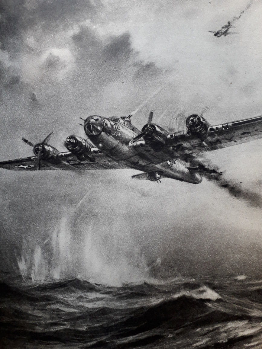 Web version A scene repeated many times over the North Sea and English Channel as a stricken B17 Flying Fortress attempts to reach saftey HMSO Crown Copyright
