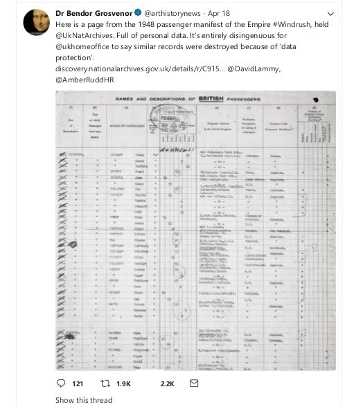 Dr Bendor Grosvenor on Twitter DP Comment